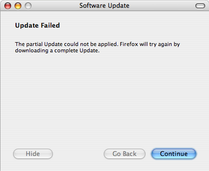 Firefox 1.5.0.1 update failed